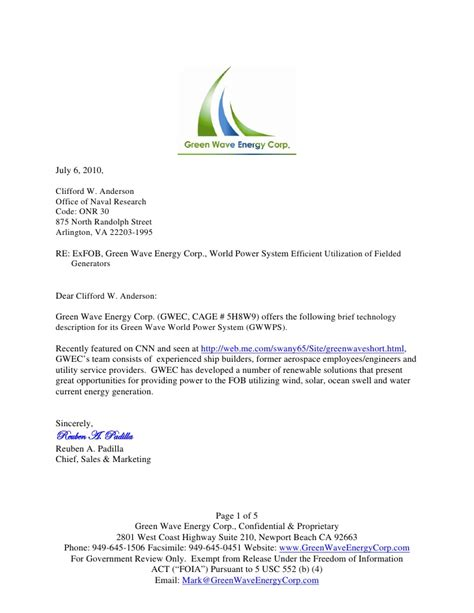 Response Letter For Rfp Green Wave Mobile Power System Rfp Response