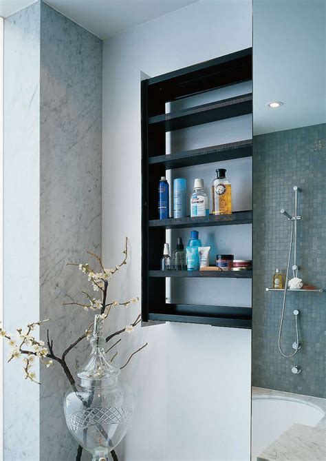 sliding bathroom storage unit in a wall crab by