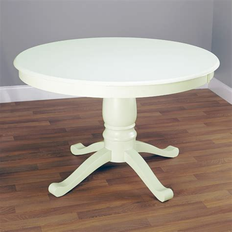simple living antique white pedestal dining
