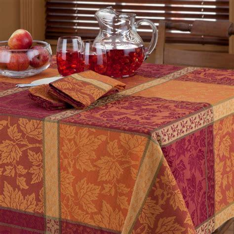 autumn harvest table linens montvale autumn harvest leaf jacquard plaid tablecloth