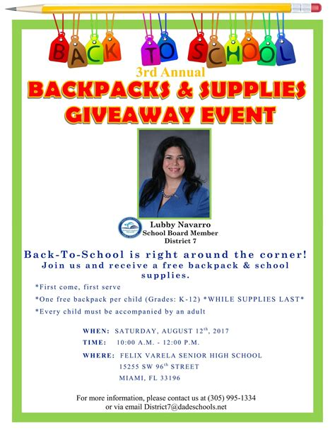 Giveaway Events - 3rd annual backpacks and supplies giveaway event miami s community news