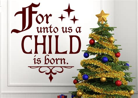 L Unto Verse by Unto Us A Child Is Born Vinyl Wall Statement Scripture