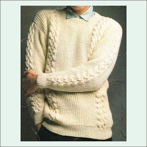 knitting pattern ribbed jumper man s knitting pattern fishermans rib sweater with cables