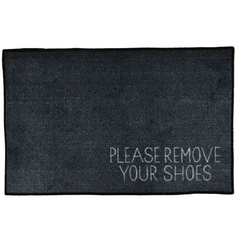Remove Your Shoes Doormat - remove your shoes message doormat grey