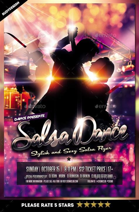Dance Event Flyer Templates salsa flyer salsa psd flyer templates and