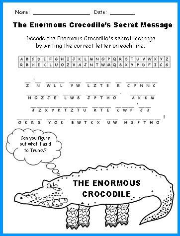 s day secret message worksheet crocodile lesson plans author roald dahl