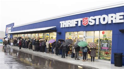 Salvation Army Up by Hundreds Line Up For Salvation Army Store Opening