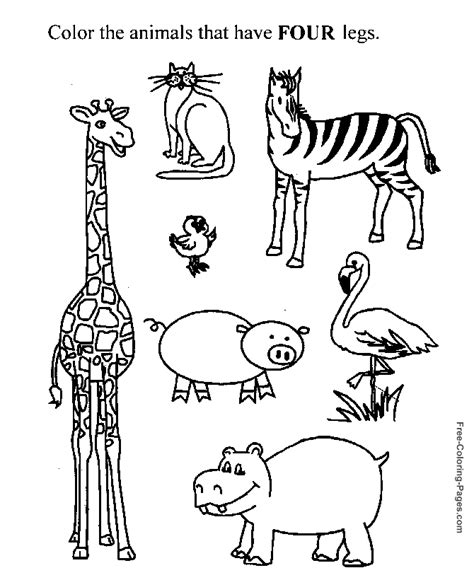 preschool exercise coloring pages number worksheets to print 4 legs