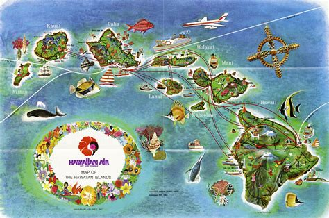 us map hawaii islands hawaiian airlines route map