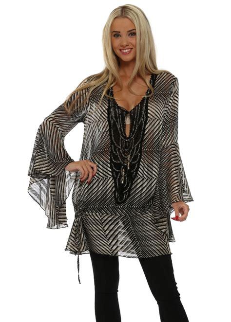 Stripe Tunic Blouse Muslim my story black stripe chiffon tunic top