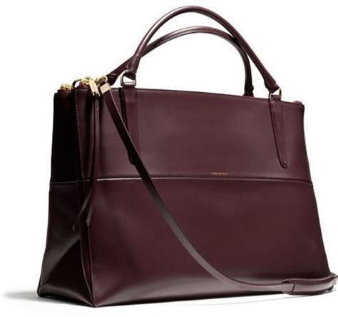 coach the large borough bag in polished calfskin in purple