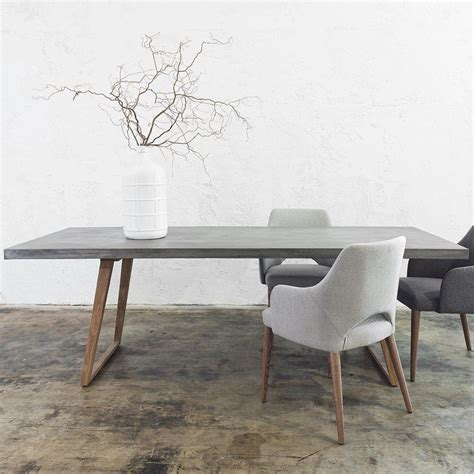 concrete dining room table concrete dining table scandi teak leg 2200 x 900 grey