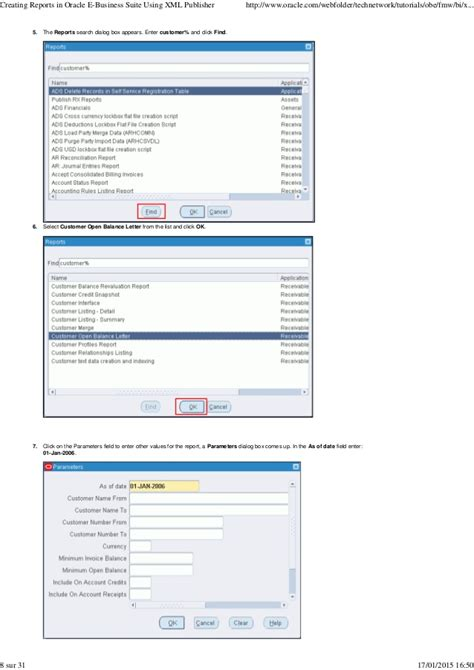 Customer Open Balance Letter Oracle Creating Reports In Oracle E Business Suite Using Xml Publisher