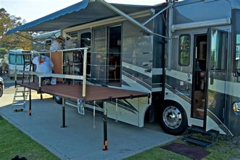 Rv With Patio the answer to a truly portable rv deck or rv patio