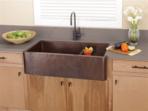 Farmer Kitchen Sink Farmhouse Duet Pro Copper Kitchen Sink In Antique By Trails Traditional Kitchen Sinks