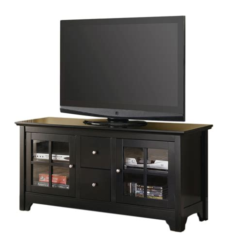 tv stand with drawers 52 inch wood tv stand with drawers and glass doors by
