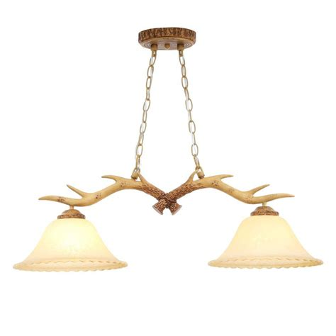 Island Chandelier Hton Bay 2 Light Antler Island Chandelier With Sunset Glass Shades 17192 The Home Depot