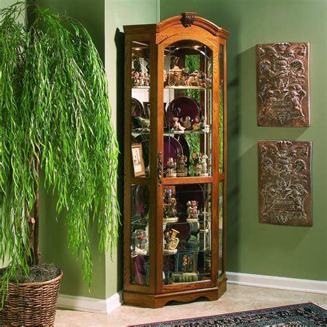 oak corner curio cabinet pulaski estate oak corner curio cabinet at hayneedle