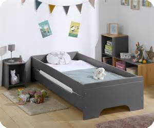 lit enfant gris anthracite 90x200 cm