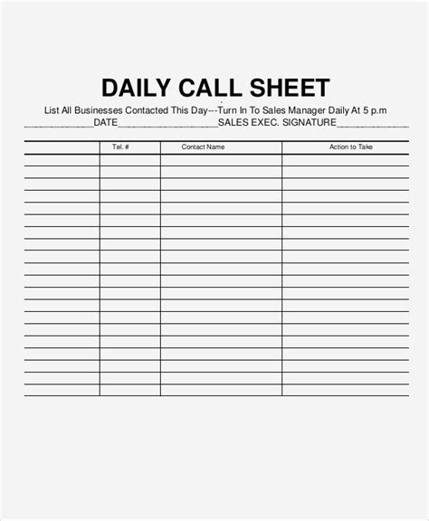 simple call sheet template refrigerator freezer temperature log sheet beautiful daily