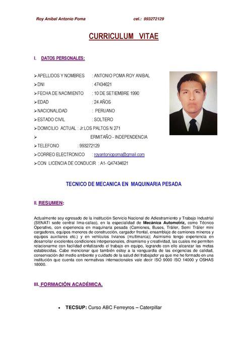 Modelo De Curriculum Vitae Con Licencia De Conducir Calam 233 O Cv Roy Antonio Poma 1