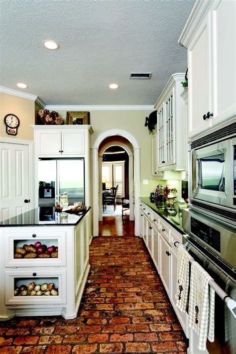 Brick Kitchen Floor White Cabinets With Brick Floor Excuse Me While I My Jaw Up The Floor This Is