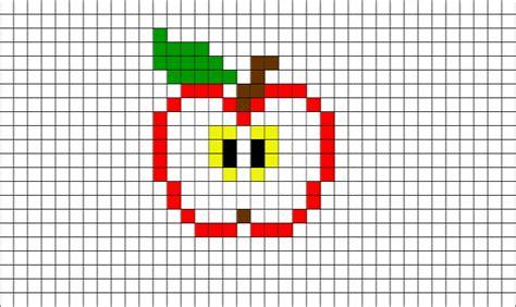 half eaten apple pixel art brik