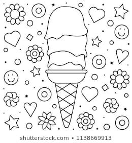 ice cream coloring page images stock  vectors