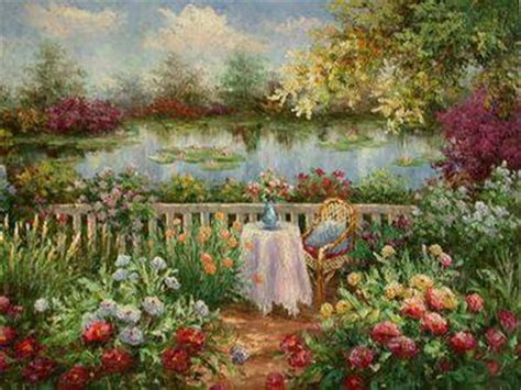 oil paintings of flower gardens oil painting in a Garden