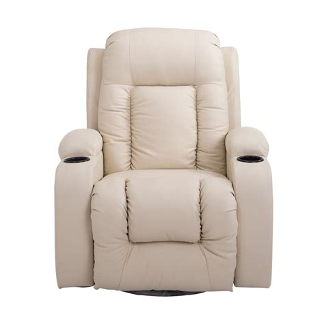 arm chair recliner homcom pu leather heated vibrating swivel recliner