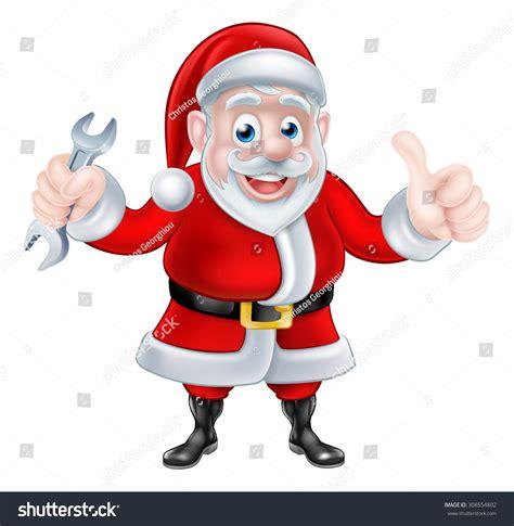 Santa Plumbing by Santa Claus Holding Mechanic Stock Vector 308554802