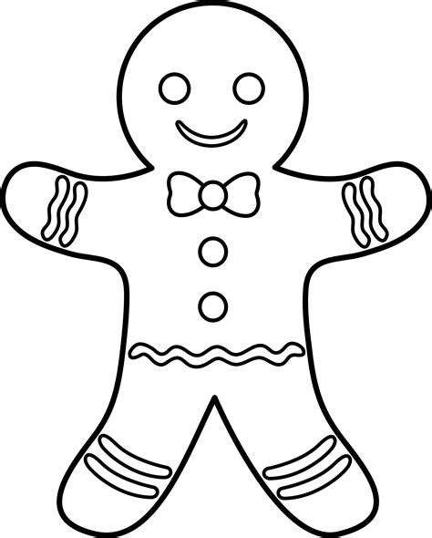 coloring page gingerbread boy gingerbread lineart free clip