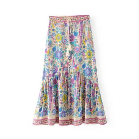 boho floral bird print skirt summer high waist casual maxi tutu skirts 2017