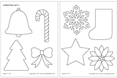 cut outs christmas ornaments printables set printable templates coloring pages firstpalette