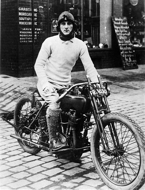 Fast is fast...: William Lyons on a Harley.
