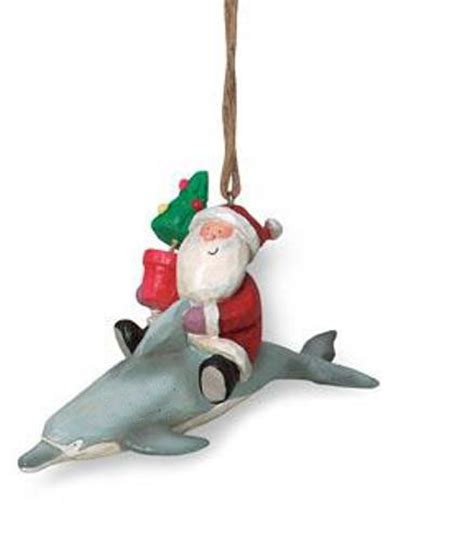 jolly santa riding dolphin christmas holiday ornament