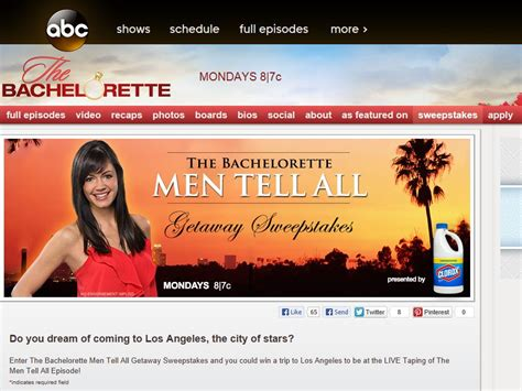 Bachelorette Sweepstakes - the bachelorette men tell all getaway sweepstakes