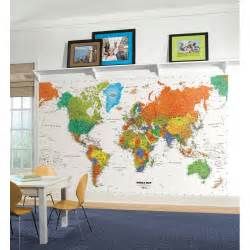 Wall Map Murals World Map Wall Mural Countries Wallpaper Accent Decor