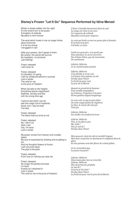 printable lyrics let it go french lyrics to frozen let it go by msldv teaching