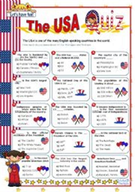 quiz questions usa english worksheets the usa quiz