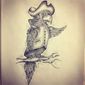 pirate parrot tattoo sketch by ranz pinterest