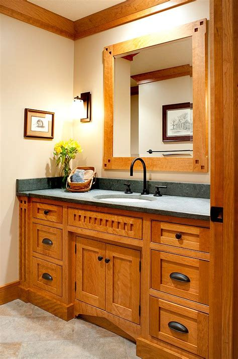 Custom Bathroom Furniture Mullet Cabinet Mission Style Bath Accentuated With Curly Cherry Wood Grain Bathroom