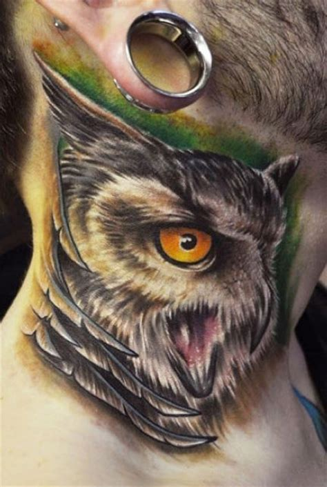 tattoo owl neck neck tattoo designs for men mens neck tattoo ideas
