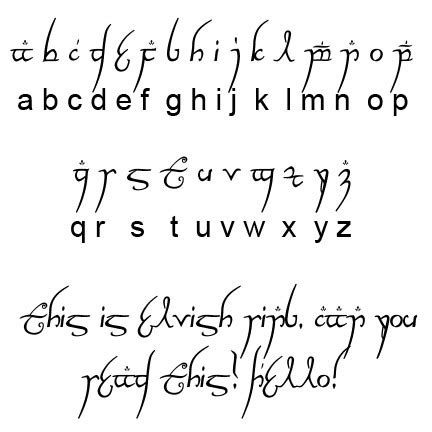 tattoo elf letters lord of the rings font breecraft