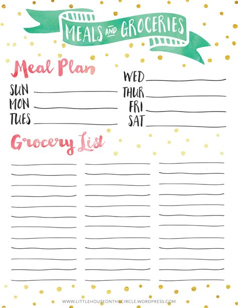 pretty printable meal planner a pretty little meal plan grocery list little house studio