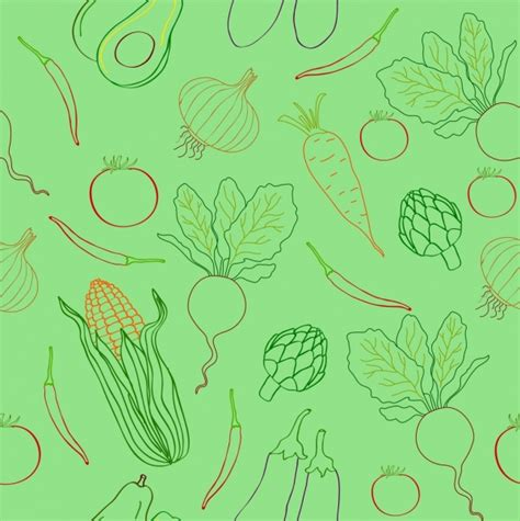 illustrator pattern to outline vegetables pattern outline repeating flat decoration free