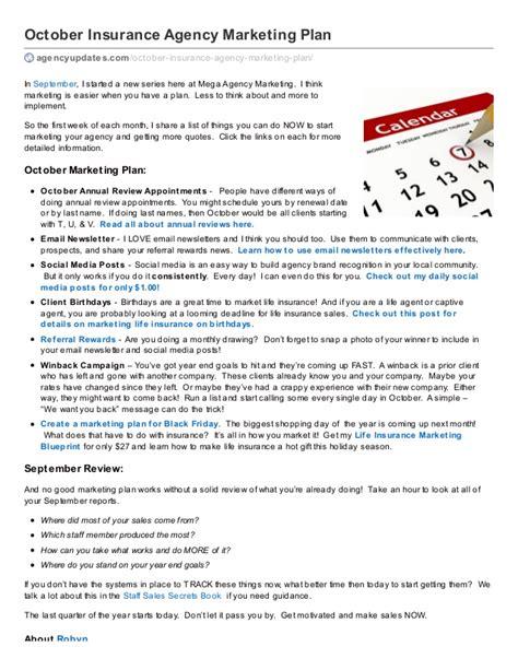 October Insurance Agency Marketing Plan Advertising Agency Business Plan Template