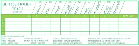 Custom Golf Scorecard Template Pub Golf Scorecard Custom Printable