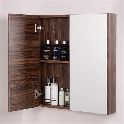 Aspen Bathroom Furniture Aspen 2 Door Walnut Mirror Cabinet 650 H 600 W 100 P
