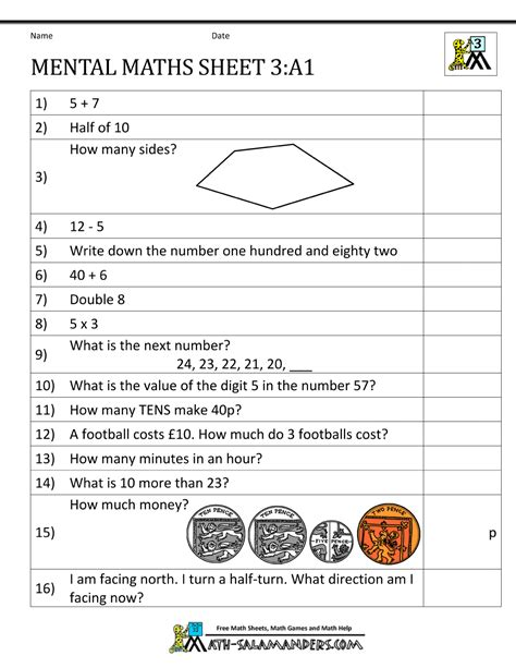 year 3 mental maths worksheets